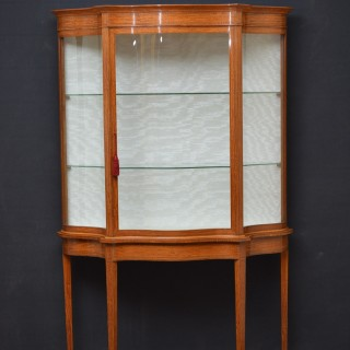 Late Victorian Satinwood Serpentine Display Cabinet