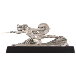 Amazone, Art Deco Bronze Sculpture Female Nude Warrior
