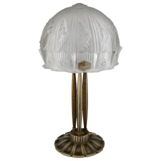 Art Deco glass and bronze desk or table lamp