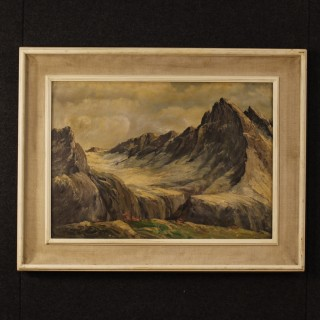 French Mountain Landscape Painting Oil On Canvas From 20th Century