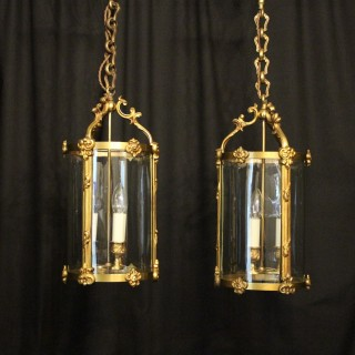French Pair Of Gilded Bronze Hall Lanterns