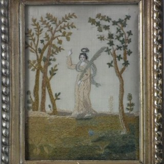 Antique French Silkwork Embroidery of an Angel