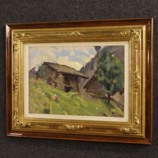 Italian Signed Landscape Painting Oil On Panel From 20th Century