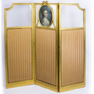 Antique French Giltwood Dressing Screen With Pastel Portrait 19th C