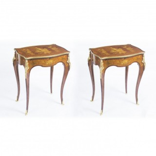 Antique Pair Parquetry & Ormolu Mounted Occasional Tables C 1900