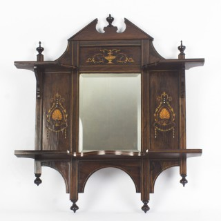 Antique Mahogany Inlaid Marquetry Mirror c.1900 - 73x67 cm