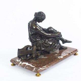 French Bronze Sculpture of a the Seated Poet Sappho by J. Pradier, c1830