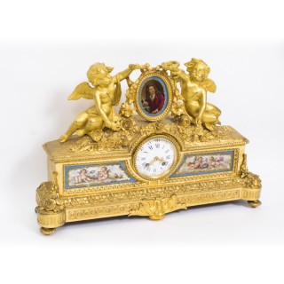 Antique French Gilt Bronze Clock with Portrait Plaque of Molière c.1860