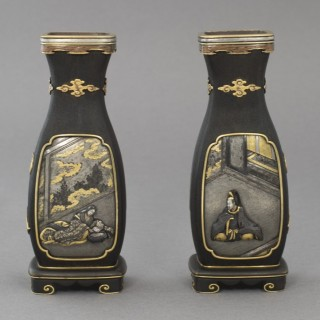 RARE AND UNUSUAL PAIR OF JAPANESE HARDWOOD AND MIXED METAL VASES