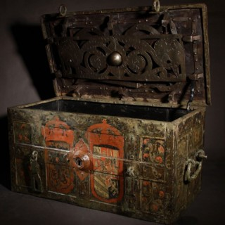 A very interesting iron strong box/ armada chest, end of the 17th century