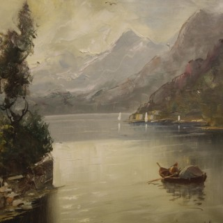 Italian painting lake landscape with characters and architectures