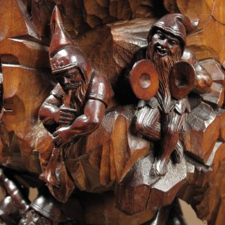 Lime Wood Sculpture Black Forest Museum Quality Humidor / Tobacco Centre Piece Carved with 22 Gnomes