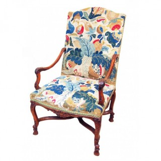 Antique 19th Century French Tapestry Library Armchair
