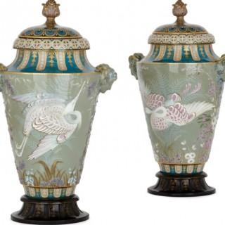 Two Sèvres porcelain pâte-sur-pâte vases by Leopold-Jules-Joseph Gely
