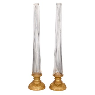 Large pair of glass lamp stands with gilt bases