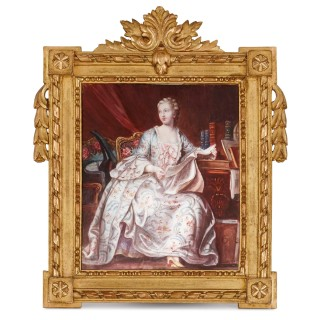 French Limoges enamel portrait plaque of Madame de Pompadour