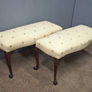 Pair of George III Chippendale Style Stools
