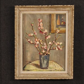 French Still Life Painting Oil On Cardboard Vase With Flowers From 20th Century