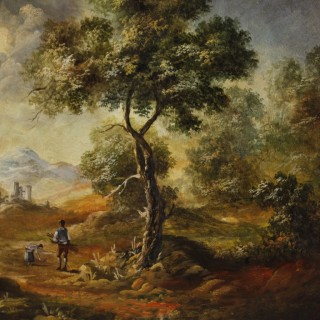 Italian landscape with characters painting