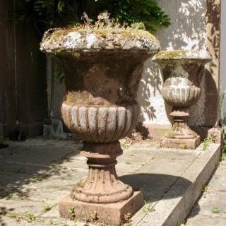 A Pair of Rare Scottish Hand Carved Antique Red Sandstone Garden Urns/Vases.