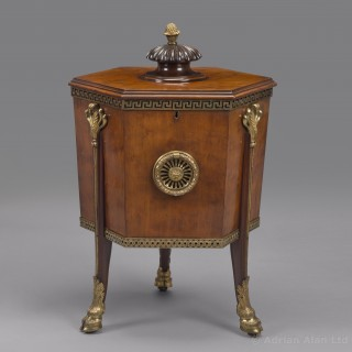A Rare Pair of Late George III Mahogany Wine Coolers or Cellarettes