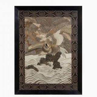 A large Meiji period silk embroidery of a sea eagle,