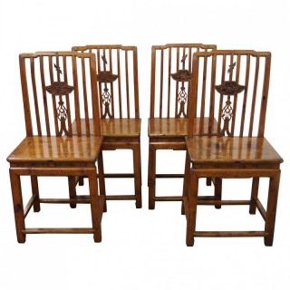 Set of 4 Chinese Cherrywood Dining Chairs