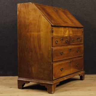 English Bureau In Inlaid Mahogany, Maple And Fruitwood From 19th Century