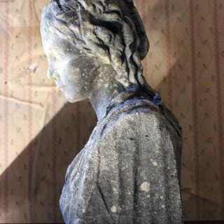 A Victorian Period Weathered Stone Bust of a Classical Female c.1880