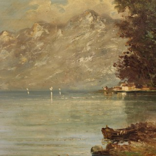 Italian Landscape Painting With Lake View Oil On Board From 20th Century