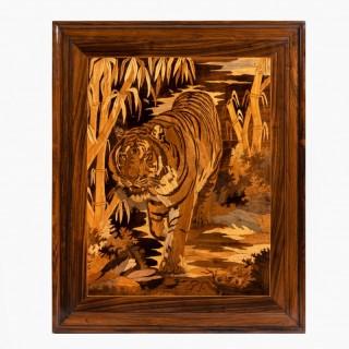 Art Deco period intarsia wood panel of a tiger