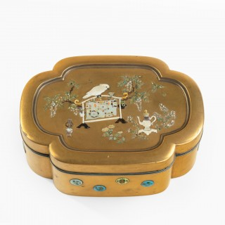 Meiji period shibayama and gold lacquer box