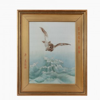 embroidered Chinese silk picture of a sea eagle