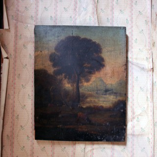 A Late 18thC Oil on Panel of an English Rural Landscape c.1790