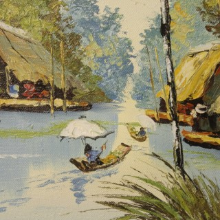 French Oriental Landscape Painting Oil On Canvas From 20th Century