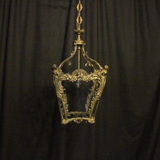 French Gilded Rococo Single Light Hall Lantern