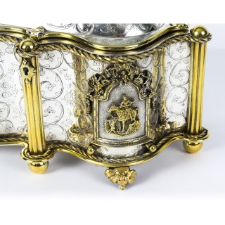 Antique Large French Gold and Silver Plated Oval Casket 19thC
