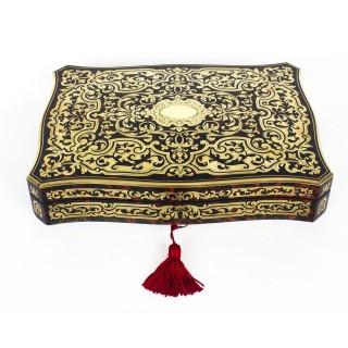 Antique Ebonised & Red Boulle Jewellery Casket Zimberg Paris c.1860