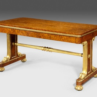A superb quality amboyna and gilt library table attributed to  Morel and Seddon
