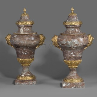 A Pair of Marble Vases In The Manner of Gouthière