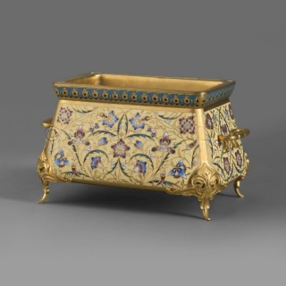 A Champlevé Enamel and Gilt-Bronze Mounted Jardinière by Ferdinand Barbedienne