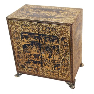Antique 19th Century Chinese Export Table Cabinet