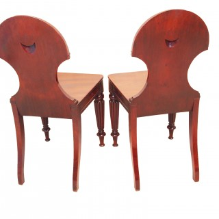 Antique Regency Mahogany Pair Of Hall Chairs