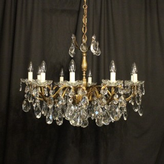 Italian Gilt & Crystal 10 Light Antique Chandelier