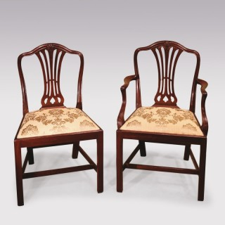 12 Single & 2 Arm late 19th Century Hepplewhite style Camelback Dining Chairs