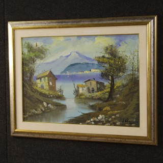 Italian lake view painting oil on canvas
