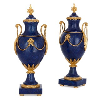 Two Neoclassical style gilt bronze and lapis lazuli vases