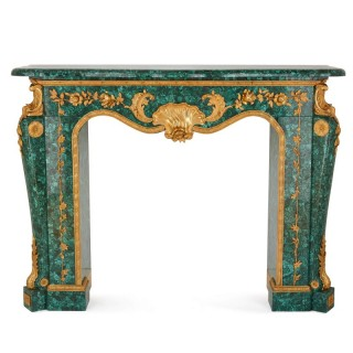 Louis XIV style gilt bronze and malachite fireplace