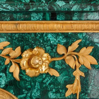 Louis XIV style gilt bronze and malachite fireplace