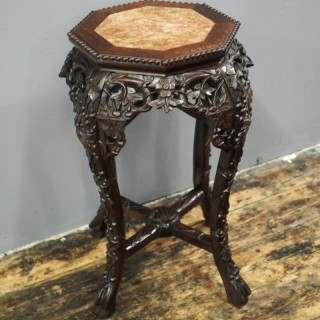 Huanghuali Marble Top Plant Stand